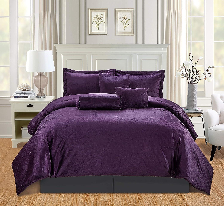 Amazon Com Grandlinen 5 Piece Twin Size Solid Dark Purple Dark Grey Micromink Velvet Comforter Set Warm Bedding With Accent Pillows And Bed Skirt Home Kitchen