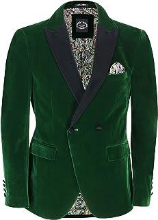 Mens Double Breasted Velvet Dinner Jacket 2 Button Tailored Fit Suit Tuxedo Blazer