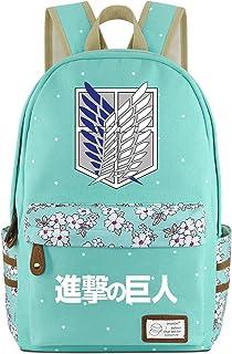 Roffatide Anime Canvas Backpack Polka Dots School Bag Printed Rucksack Daypacks Green