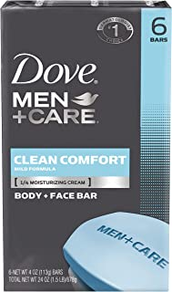 Dove Men+Care Clean Comfort Body+Face Bar, 4 Ounce, 6 Count