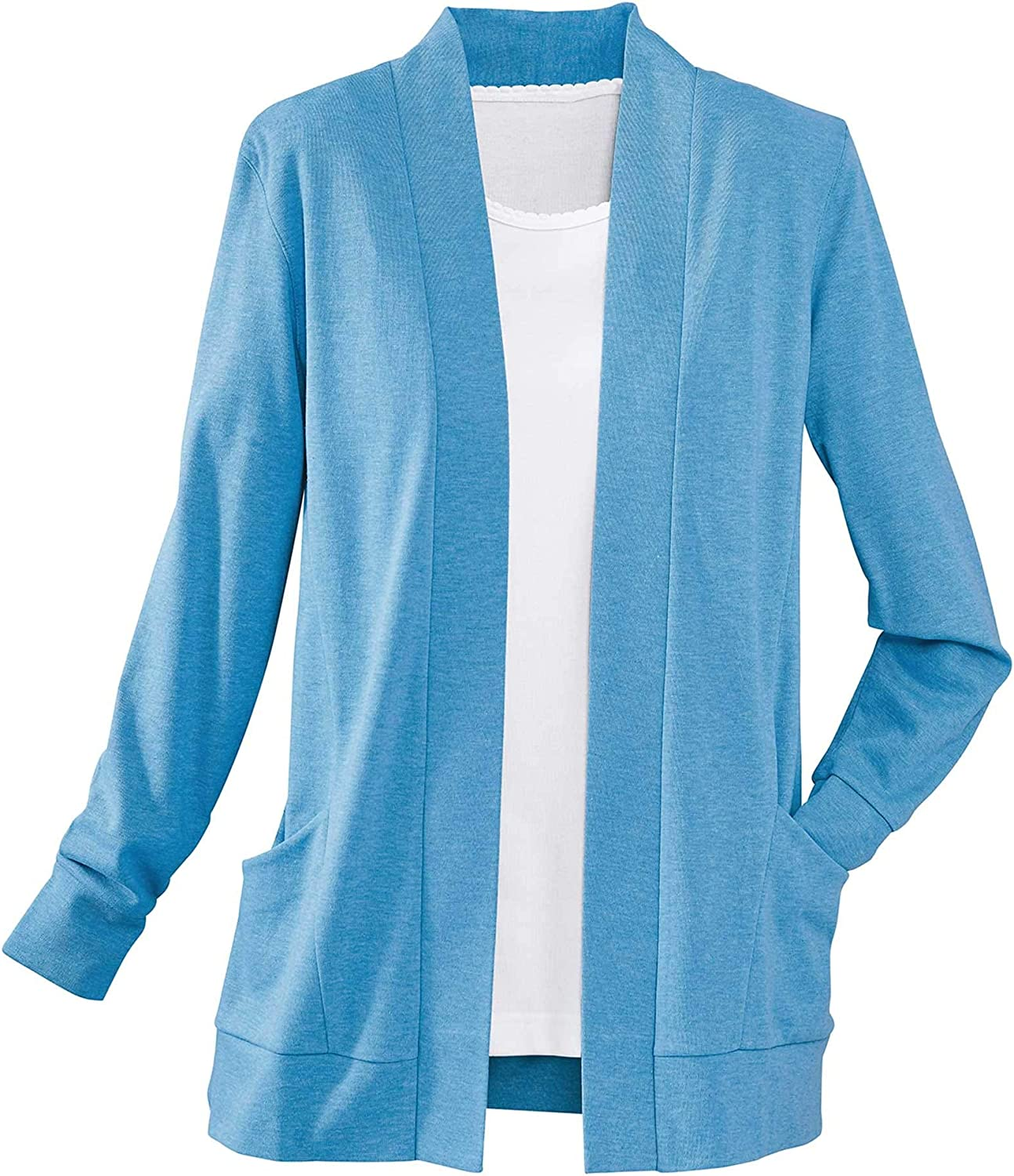 National Petites Open-Front Trellis Cardigan, Flattering Body Seams, Casual Fit, Long Sleeves Patch Pockets