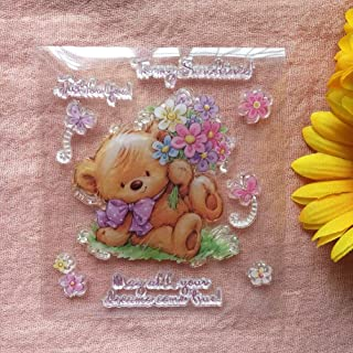 GAWEI Clear Stamps for Scrapbooking and Card Making Words Just for You to My Sunshine Little Bear Transparent Stamps Silic...