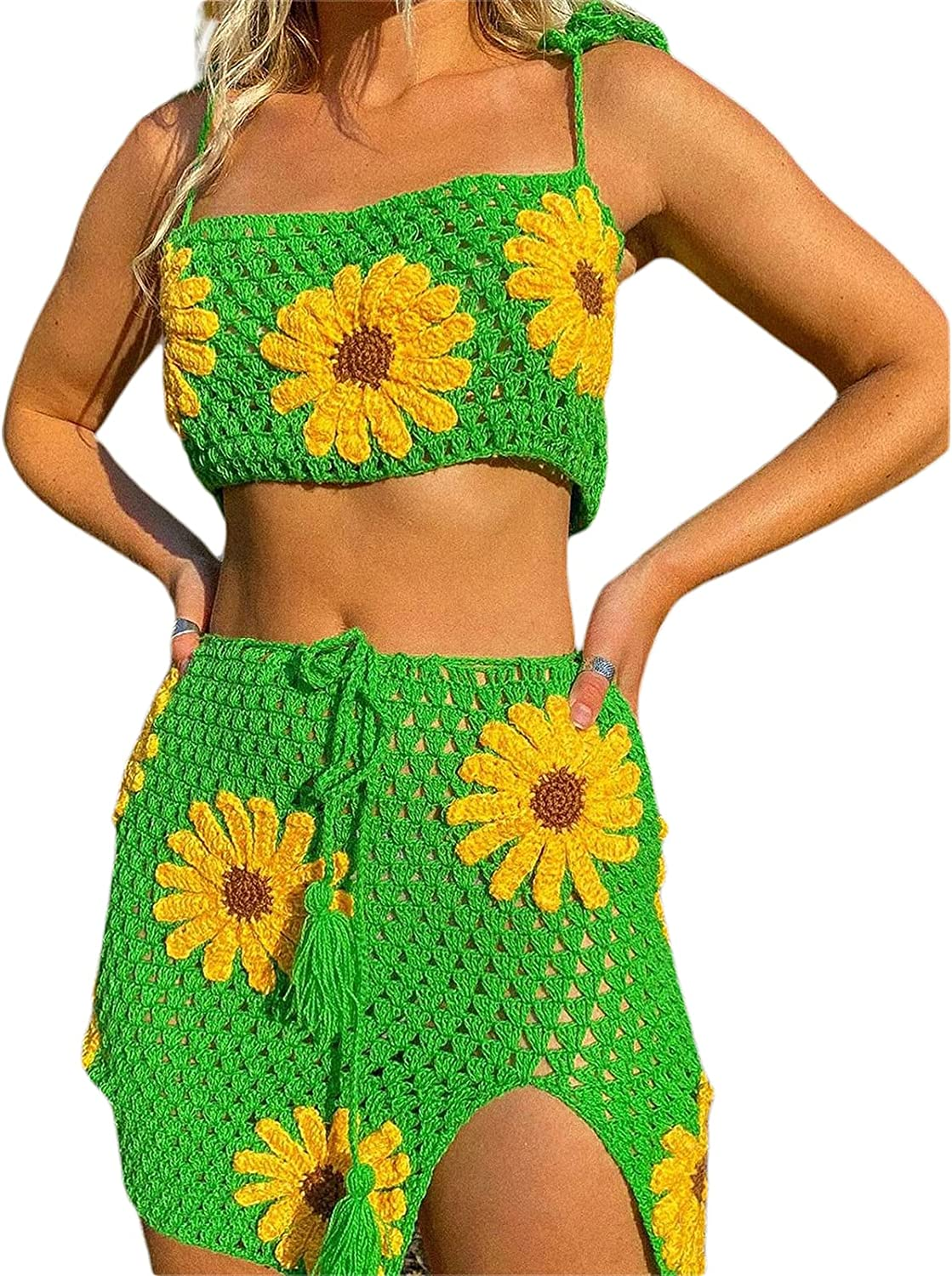 Womens Y2k 90s Crochet Knitted Floral Crop Top Mini Split Skirt Set Hollow Out 2 Piece Outfits See Through Bikini Cover up
