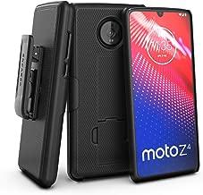 Encased Moto Z4 Belt Clip Case (DuraClip) Slim Fit Holster Shell Combo (Rubberized Grip) Smooth Black