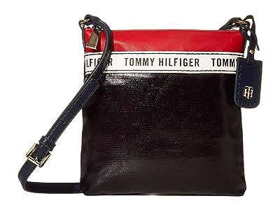 Tommy Hilfiger Julia Coated Canvas Crossbody (Navy/Red/White) Cross Body Handbags