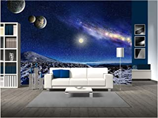 wall26 - Night Space Landscape. Milky Way Galaxy and Planets Over Mountains - Removable Wall Mural | Self-Adhesive Large Wallpaper - 66x96 inches