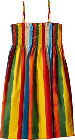 Painterly Striped Poplin Dress (Big Kids)