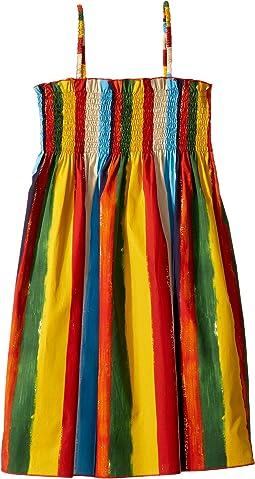 Painterly Striped Poplin Dress (Big Kids)