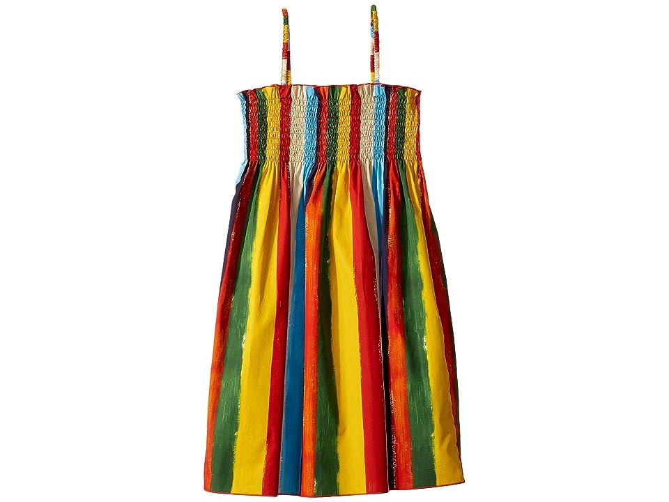 Dolce & Gabbana Kids Painterly Striped Poplin Dress (Big Kids) (Multi Stripe) Girl