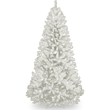 National Tree Company Artificial Christmas Tree   Includes Pre-strung White Lights and Stand   With Glitter Branches   North Valley Spruce - 7 ft