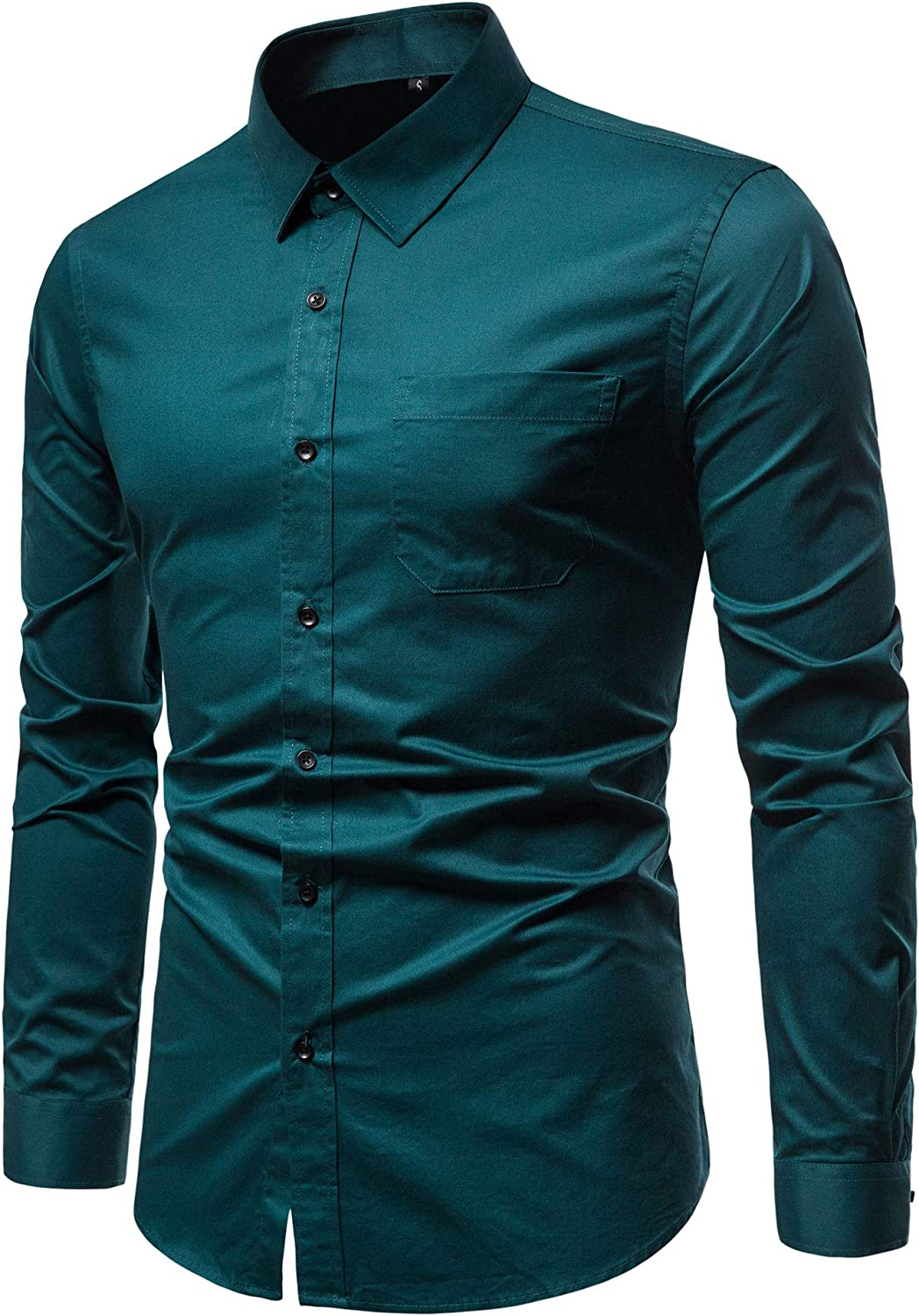 VANCOOG Men/'s Long Sleeve Casual Button Down Dress Shirts with Chest Pocket