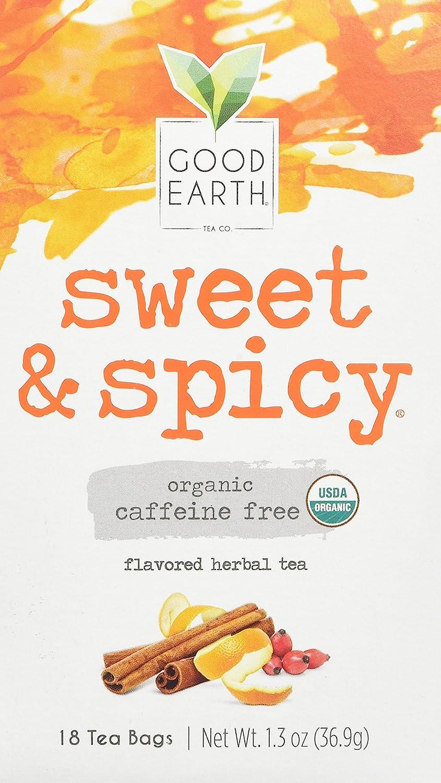 Organic Sweet & Spicy Herbal Caffeine Free Good Earth Teas 18 Tea Bag