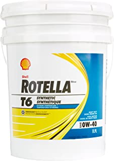 Shell ROTELLA 550036271 T6 Full Synthetic Heavy Duty 0W-40 Engine Diesel Oil - 5 Gallon Pail