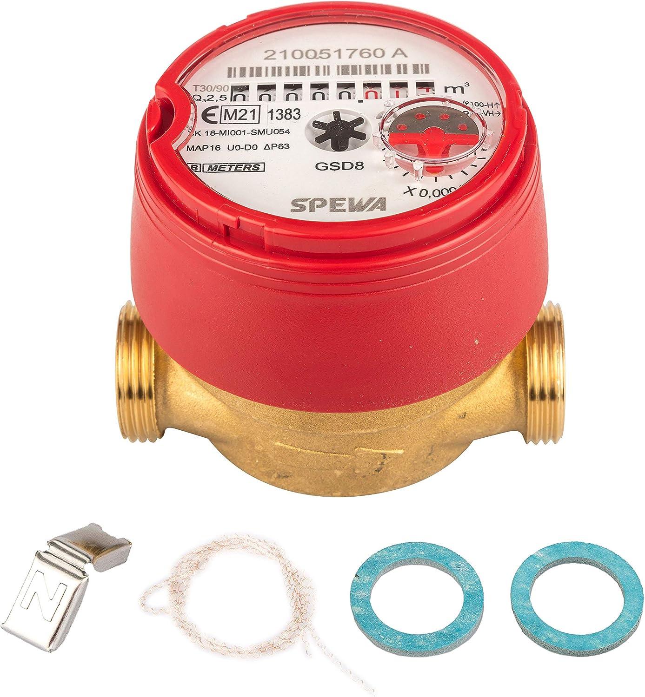 Contador de agua QN 1,5 de agua caliente, BL 80 mm, flujo de 1/2 pulgadas, conector de 3/4 pulgadas, mejor precisión de medición, medición actual.