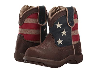 Roper Kids American Patriot (Infant/Toddler) (Brown Faux Leather Vamp Stars & Stripes Shaft) Cowboy Boots