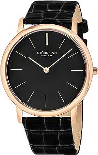 Stuhrling Original Men's 601.3345K1 Analog Classic Ascot Swiss Quartz Ultra Thin Rose Tone Black Leather Strap Watch