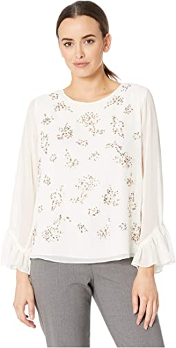Long Sleeve Ruffle Cuff Embellished Blouse