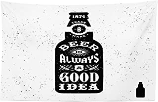 Lunarable Man Cave Tapestry, Beer is Always an Idea Typography Retro Grungy Hipster Old Bottle Print, Fabric Wall Hanging Decor for Bedroom Living Room Dorm, 45