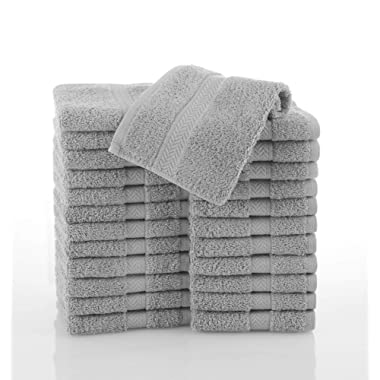 COMMERCIAL 24 PIECE WASH CLOTH  TOWEL SET BY MARTEX -  24 Wash Cloths, Home, Shower, Tub, Gym, Pool  - Machine Washable, Absorbent, Professional Grade, Hotel Quality - GRAY