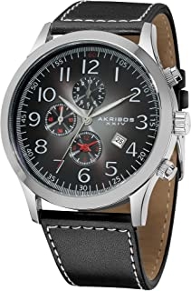 Akribos XXIV Men's Chronograph Watch - Silver Polished Stainless Steel Case - Gray Ombere Sunburst Effect Dial - Black Genuine Leather Strap With White Contrast Stitching - AK603