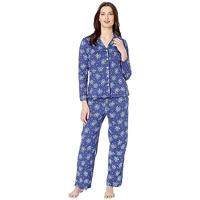 Carole Hochman Notch Collar Pajama Set (Navy Floral Bunches) Women