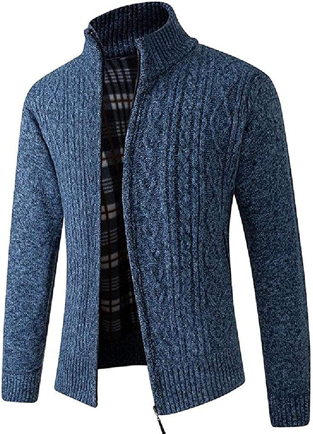 Hoolep Mens Slim Fit Thick Zip Up Solid Color Stand Collar Knit Cardigan Sweater