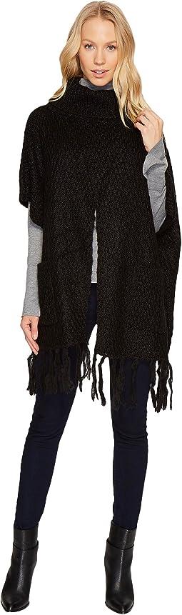 Steve Madden - Fuzzy Knit Split Front Turtleneck Poncho