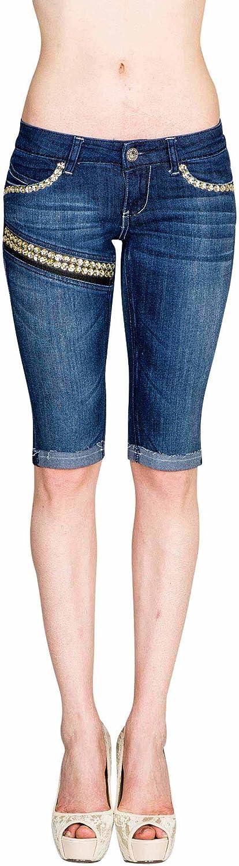 VIRGIN ONLY Women's Slim Fit Stretch Denim Bermuda Shorts