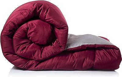 Acmura Opulence Reversible AC Comforter - 250 GSM Microfiber Double Bed Comforter, Wine Red & Grey