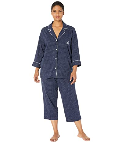 LAUREN Ralph Lauren Plus Size Notch Collar Capri PJ Set (Navy Dot) Women