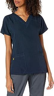 بلوزة رياضية بنمط ملابس طبية مرنة حياكة رباعية الاتجاهات بقبة بشكل V للنساء من وندروينك