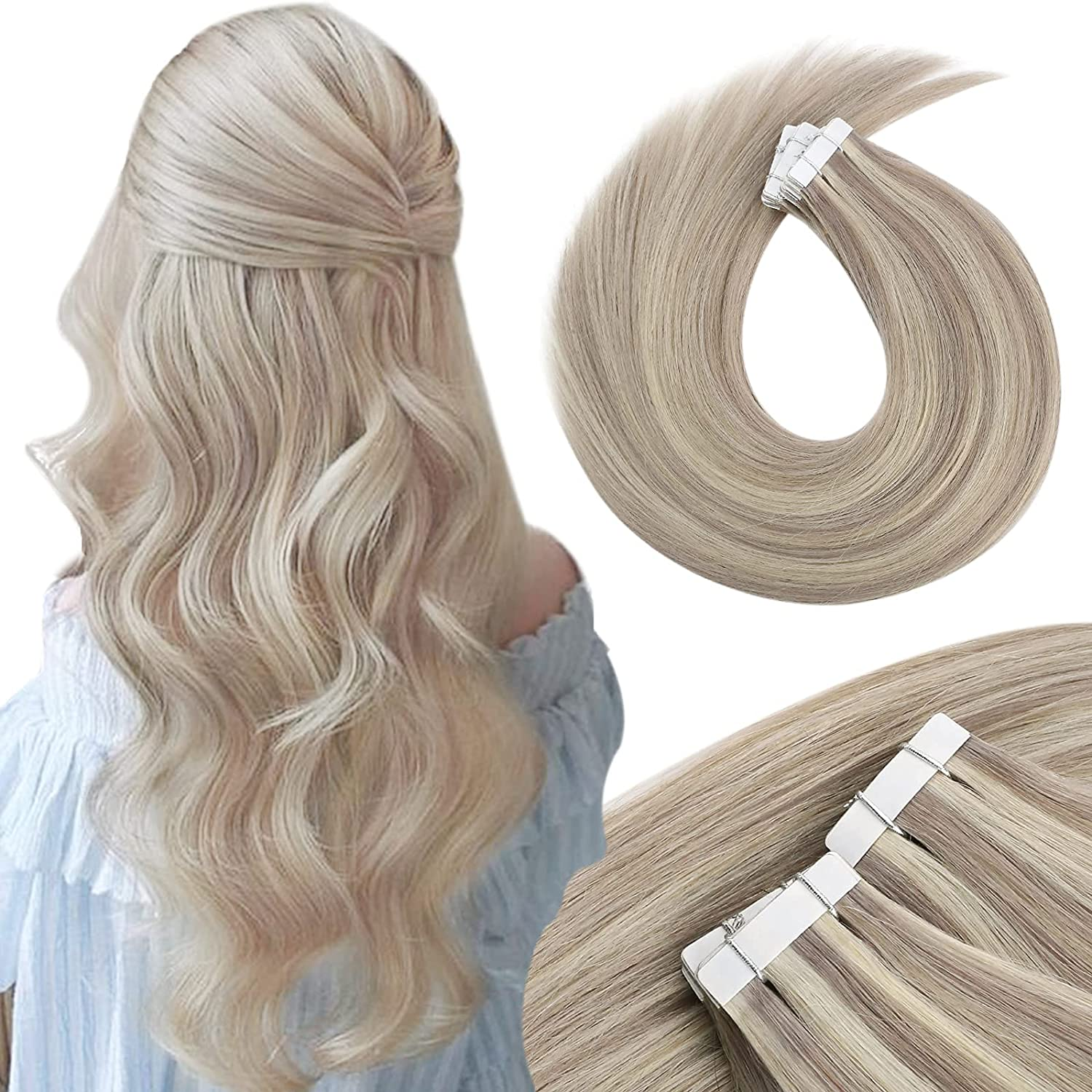 VeSunny Tape OFFicial mail order in Hair Extensions 1 year warranty Highlight Platinum 22inch Blonde