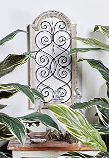 Small, Vintage Style Distressed White Wood & Metal Wall Decor Panel, Decorative Gate..