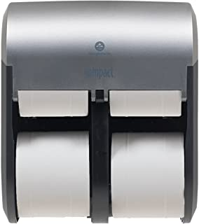 """Compact 4-Roll Quad Coreless High-Capacity Toilet Paper Dispenser by GP PRO (Georgia-Pacific), Faux Stainless, 56746A, 11.750"""" W x 6.900"""" D x 13.250"""" H"""