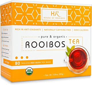 Rooibos Tea Organic Herbal Tea - 80 Bags of Caffeine Free Healthy Red Tea from the HOUSE OF ROOIBOS
