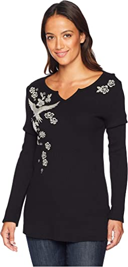 Embroidered Thermal Woodside Bloom Long Sleeve Top
