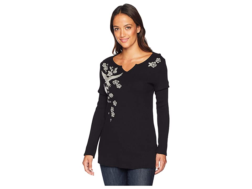 Dylan by True Grit Embroidered Thermal Woodside Bloom Long Sleeve Top (Black/Oatmeal) Women's Clothing
