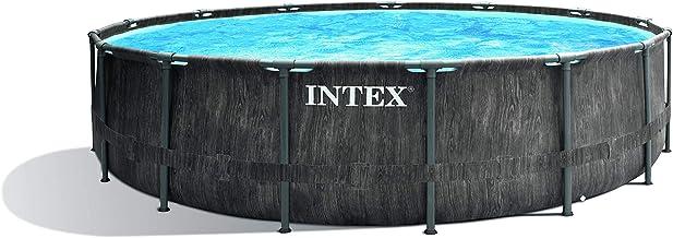 Intex Unisex – Erwachsene Premium Frame Pool Set Prism Greywood Durchmesser 457 x 122 cm, Dunkelgraue Holzoptik