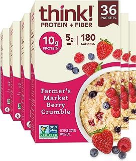 think! (thinkThin) Instant Oatmeal Packets - Protein & Fiber - Vegan, Steel Cut Oats, 5g Fiber, Non GMO, 10...