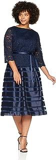 Women's Plus-Size Tea Length A-line Dress with Tie Belt