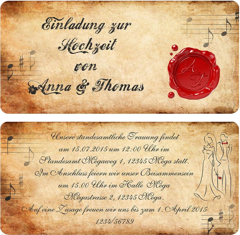 Einladungskarten Einladungskarten Einladungskarten zur Hochzeit im Vintage-Look mit Siegel 90 Stück B00WQ3PFNQ | Schön  c39b09