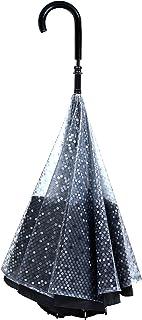 【CARRY saKASA (キャリーサカサ) Public Model (パブリックモデル) 】 逆折り式傘 逆さ傘 長傘 逆さま傘 自立式 耐風 (黒透明ドット/黒布)