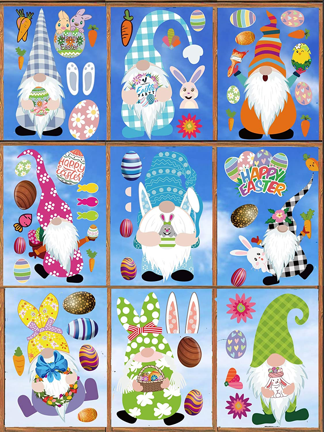 9 Sheets Easter Window Clings Gnome Bunny Decorations Egg Rabbit Max 73% OFF Our shop OFFers the best service