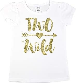 Two Wild 2nd Birthday Shirt Girl Glitter Gold Two Wild 2nd Birthday Outfit for Toddler Girls
