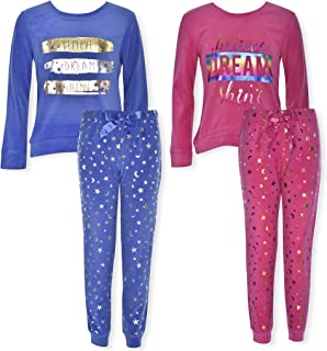 Sleep On It Girls Sleepwear 4-Piece Velour Plush Pajama Set