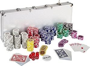 Ultimate Pokerset mit 500 hochwertigen 12 Gramm METALLKERN Laserchips, inkl. 2x Pokerdecks, Alu Pokerkoffer, 5x Würfel, 1x Dealer Button, Poker, Set, Pokerchips, Koffer, Jetons