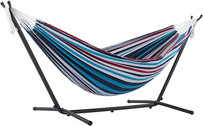 Vivere Double Cotton Hammock with Space Saving Steel Stand – Best Poolside Hammock