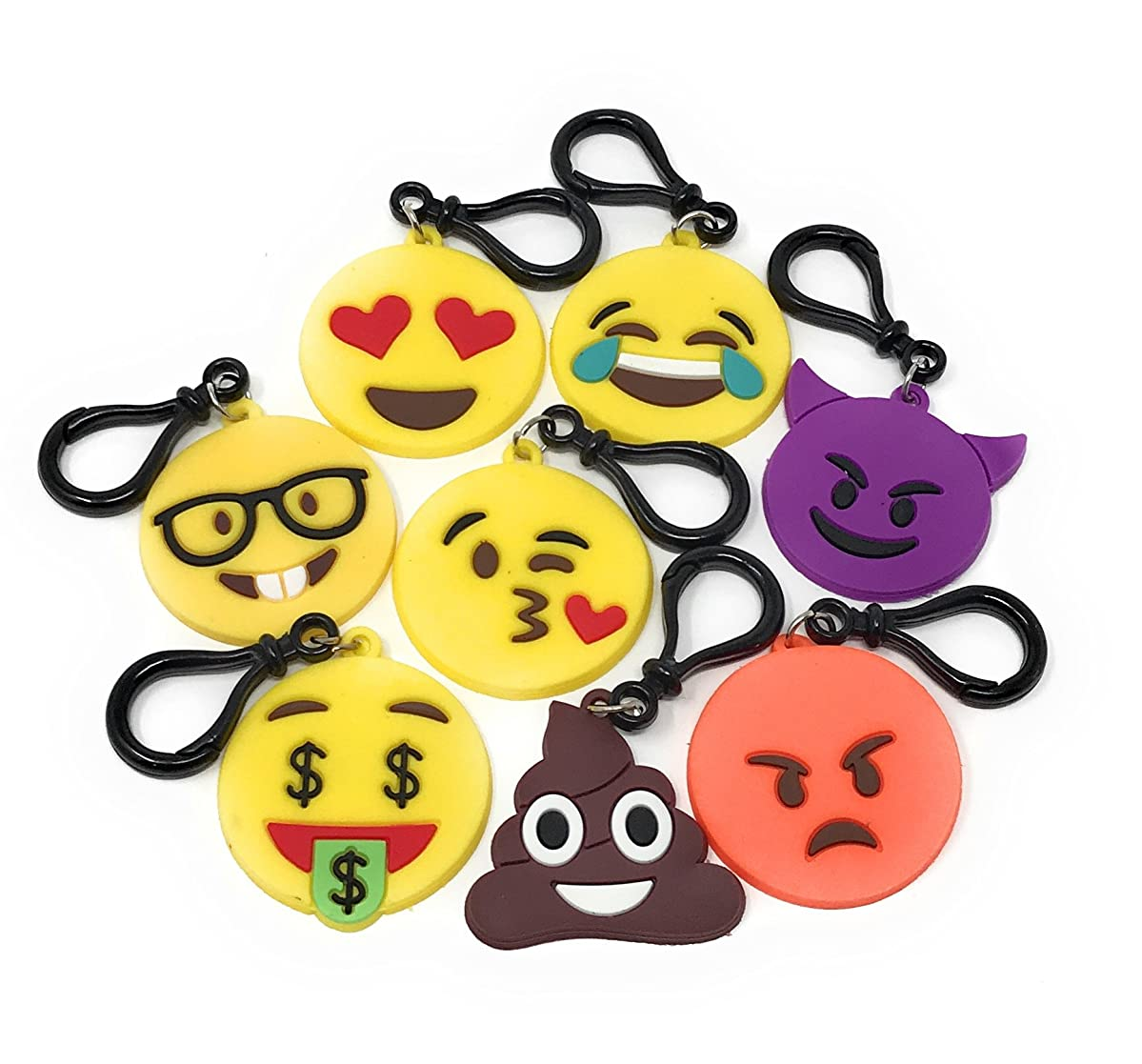 Sea View Treasures 24 Bulk Silicon Emoji Party Favor Key Chain / Bag Tag