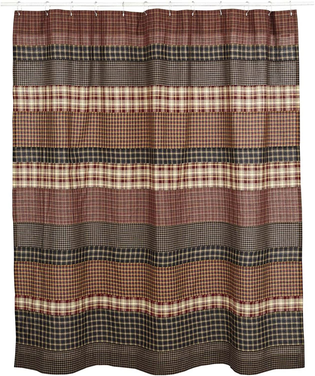 VHC Brands Rustic & Lodge Bath - Beckham Red Shower Curtain 72 x 72