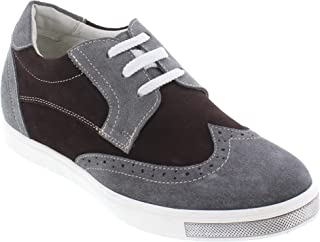 CALTO Men's Invisible Height Increasing Elevator Shoes - Grey/Dark Brown Suede Lace-up Wing-tip Fashion Sneakers - 2.4 Inches Taller - Y26182
